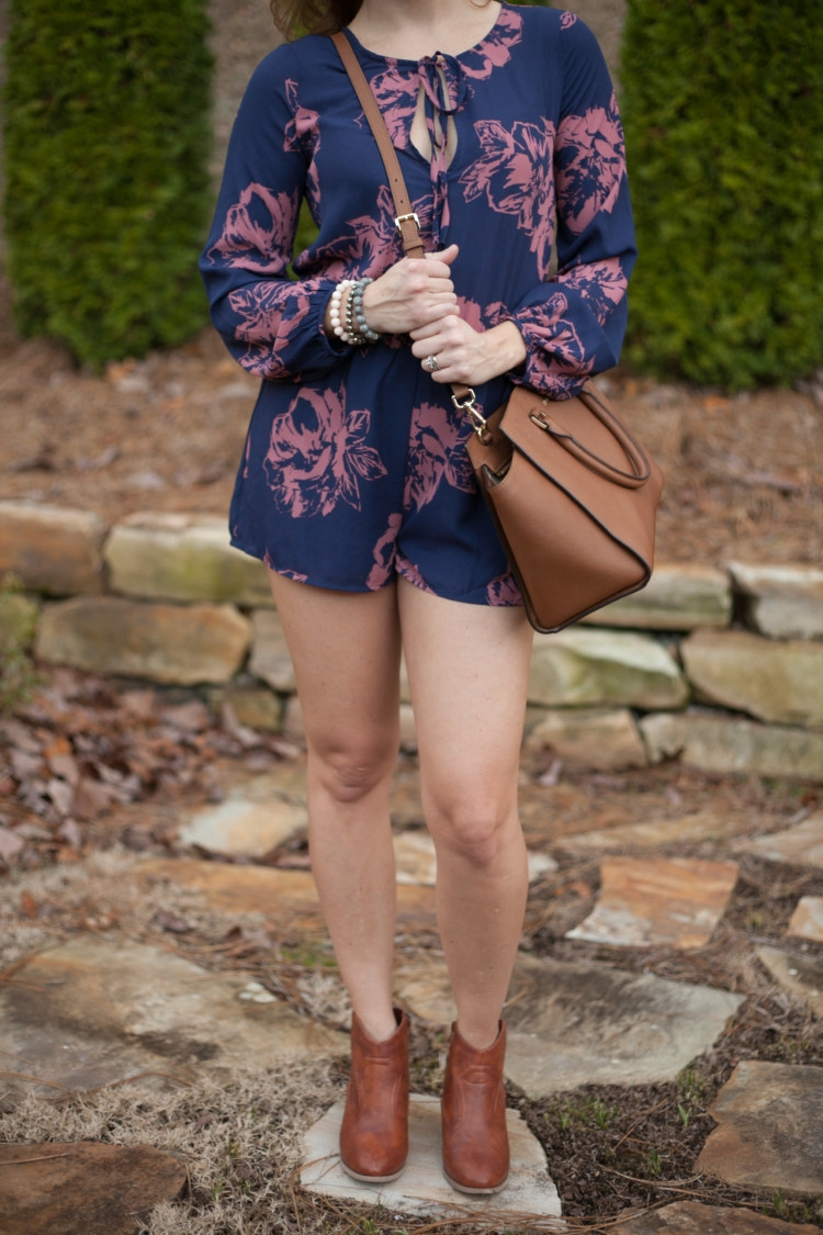 Brown Booties & Bag with Romper // How to Style a Romper + Floral Romper Outfit Ideas from Heather of MyLifeWellLoved.com