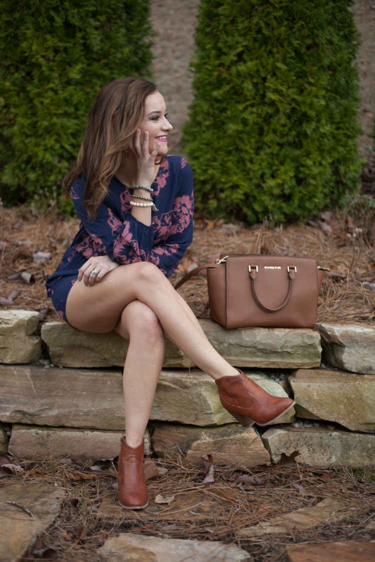 How to Style a Romper + Floral Romper Outfit Ideas with Michael Kors bag from Heather of MyLifeWellLoved.com