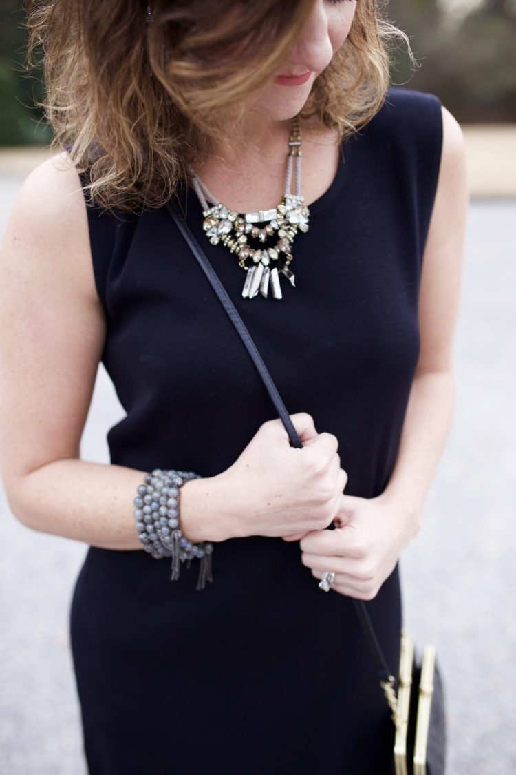 Baublebar // Christmas Eve Service Outfit Idea // Cute Winter Church Ideas from Alabama Blogger, Heather of MyLifeWellLoved.com // Church Dress Ideas // Hobo Wallet // Hobo Clutch Purse