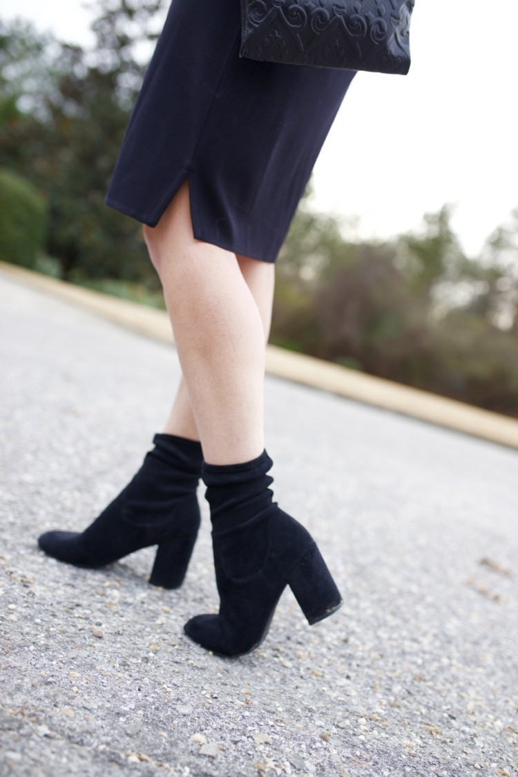 Black Sock Booties //Christmas Eve Service Outfit Idea // Cute Winter Church Ideas from Alabama Blogger, Heather of MyLifeWellLoved.com // Church Dress Ideas // Hobo Wallet // Hobo Clutch Purse