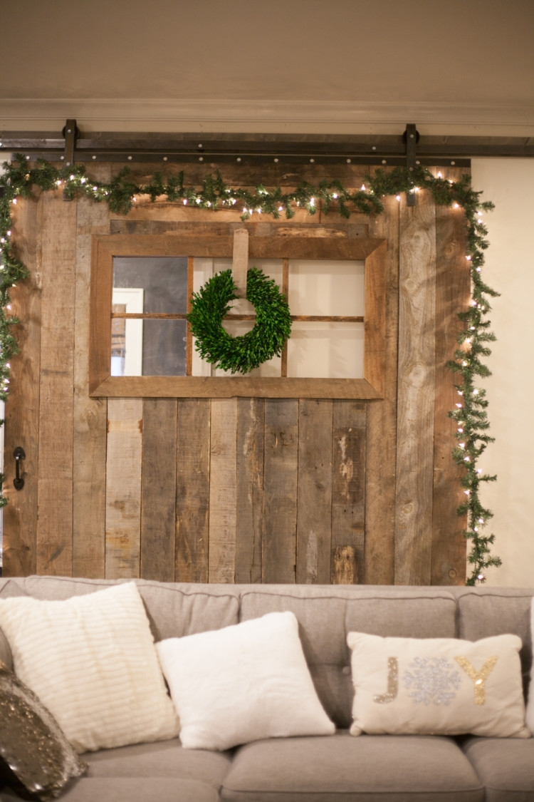 How to Decorate a Barn Door for Christmas | Silver and White Christmas Decor | Holiday Decor | Barn Door Decor for Christmas