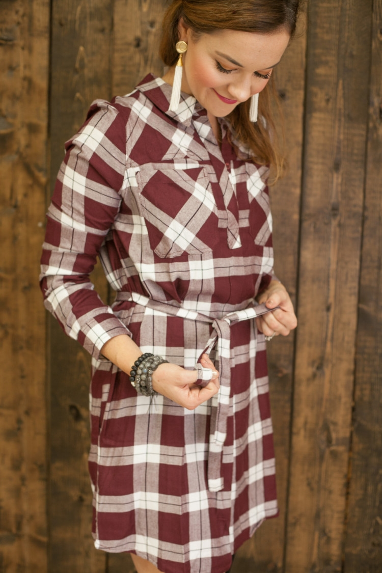 How to Style Over the Knee Boots and a dress and Valentine's Day Red Plaid Dress with lifestyle blogger Heather of MyLifeWellLoved.com