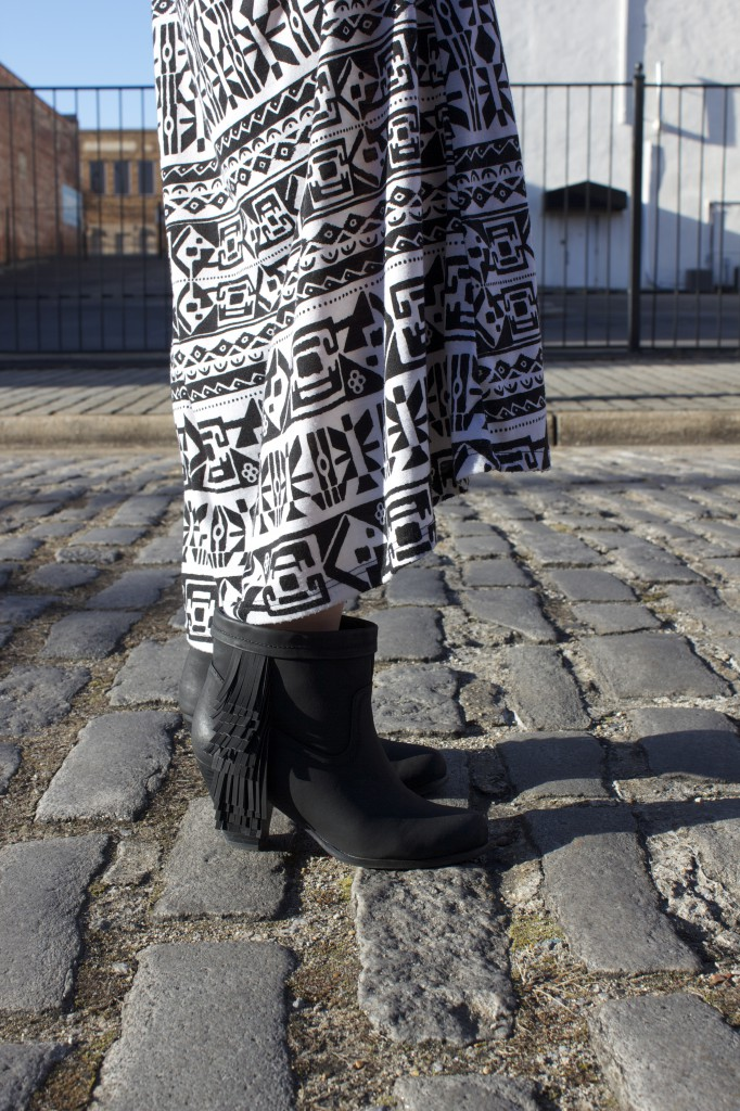 Black Booties with Aztec Print Skirt