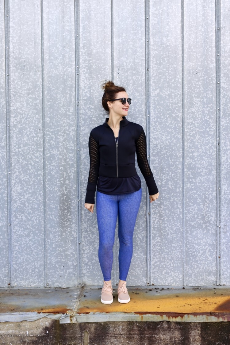 Holiday Honey Hustle Challenge Athleisure // Post WOrkout Stretch Video // alo yoga shell jacket // athleisure look from alabama blogger Heather of MyLifeWellLoved.com - Post Workout Stretches by Alabama fitness blogger My Life Well Loved