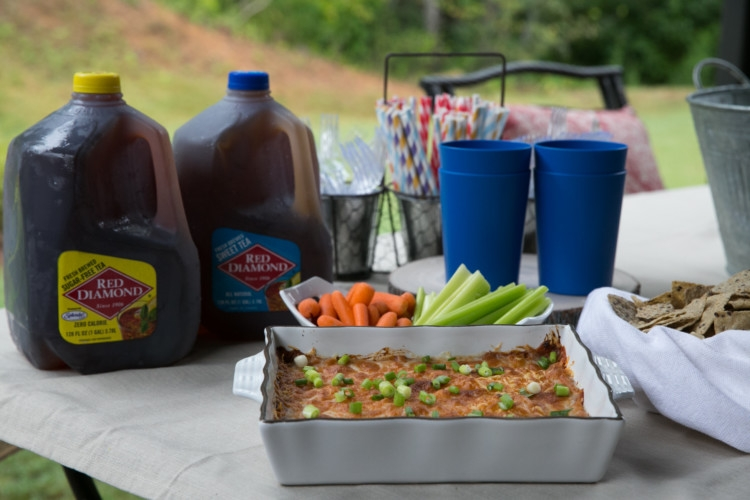 Delicious & Lightened Up BBQ Chicken Dip by Alabama health blogger My Life Well Loved // Football Tailgate recipe // Barbecue Chicken Dip Appetizer // Appetizer Recipe // Red Diamond Tea // Tailgating Set Up
