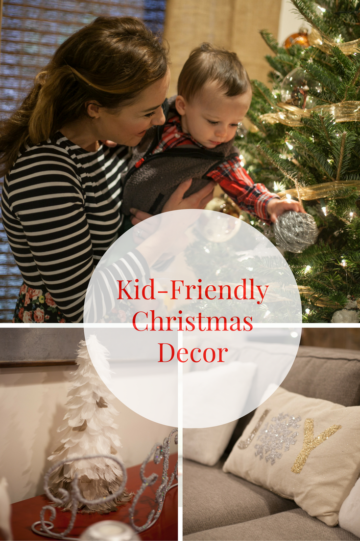 Kid-friendly Christmas decor || Simple tips on decorating with kid-friendly Christmas decor. Your home and Christmas tree can be beautiful and kid-friendly at the same time! Christmas safety tips with kids. Christmas safety. || decorating for Christmas with kids || kid friendly Christmas tree || how to kid proof your Christmas tree || Heather Brown from My Life Well Loved