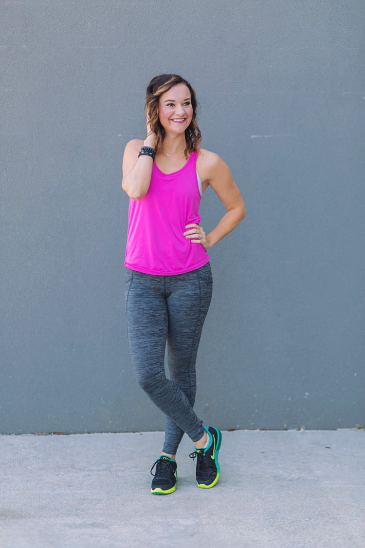 Athleisure Clothes: Hot Pink tank top & gray criss cross workout pants from Heather of MyLifeWellLoved.com // Nike shoes // athleisure OOTD // Pure Barre clothes // what to wear to Pure Barre