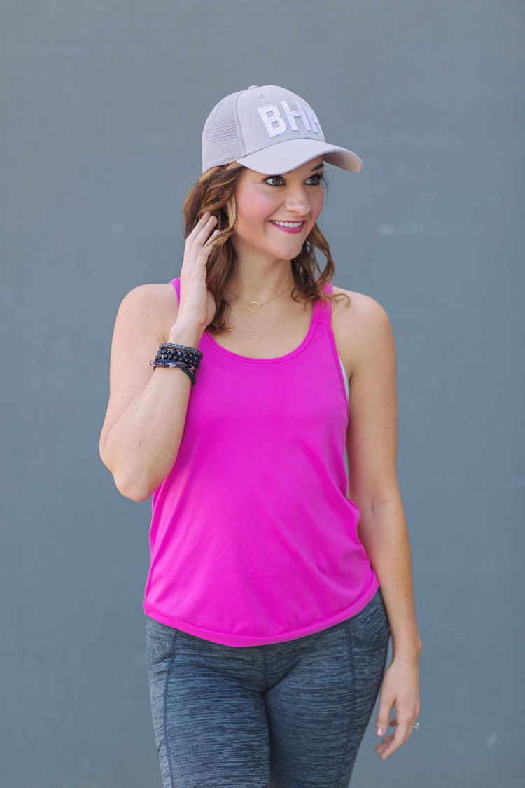Athleisure Clothes: Hot Pink tank top & gray criss cross workout pants from Heather of MyLifeWellLoved.com // Nike shoes // athleisure OOTD // Pure Barre clothes // Aviate Birmingham Hats // BHM hat // Birmingham blogger