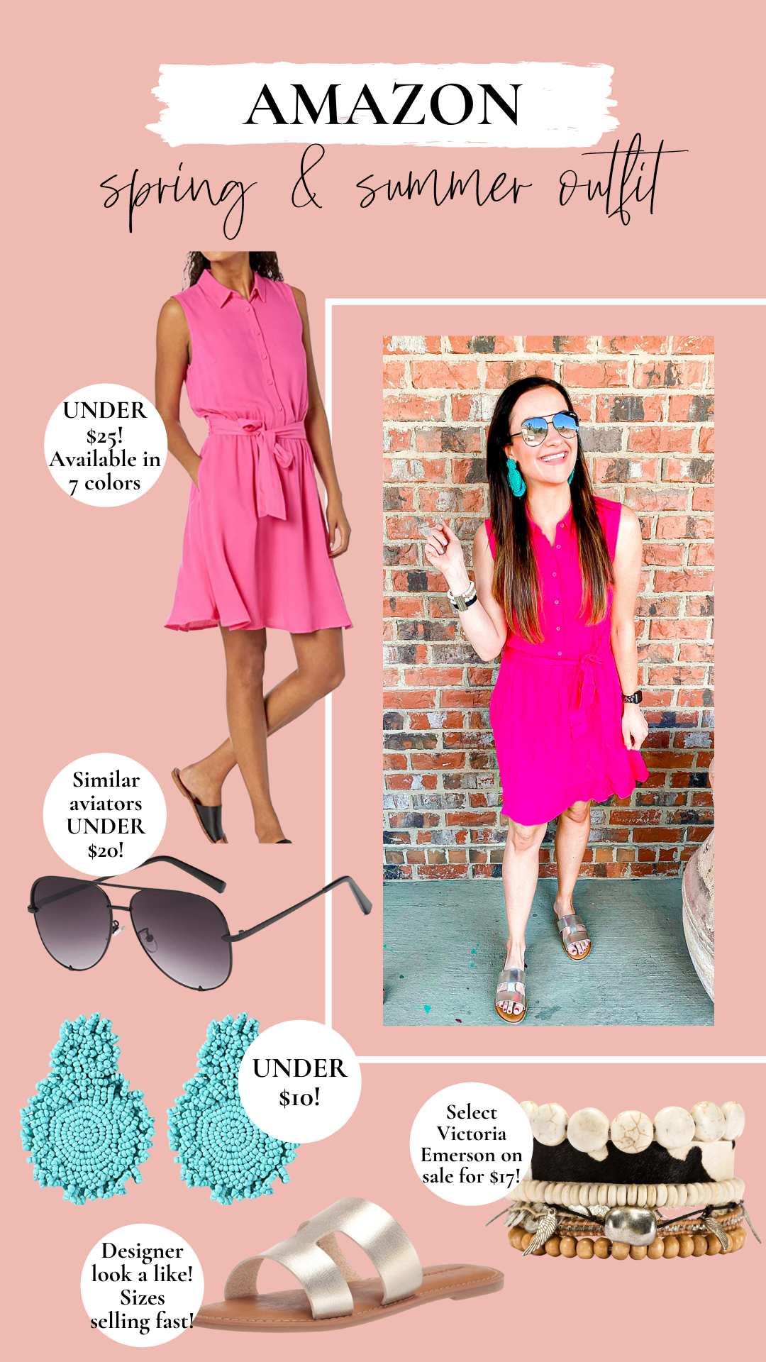 Pink dress, spring and summer outfit idea