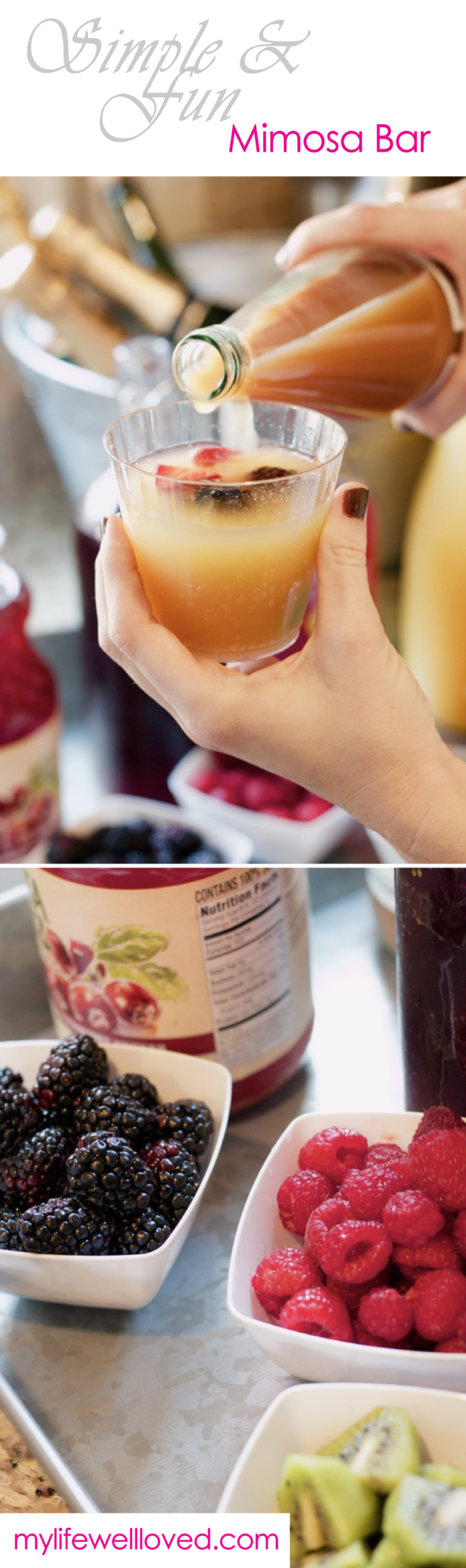 Mimosa Bar from Heather of MyLifeWellLoved.com // brunch ideas