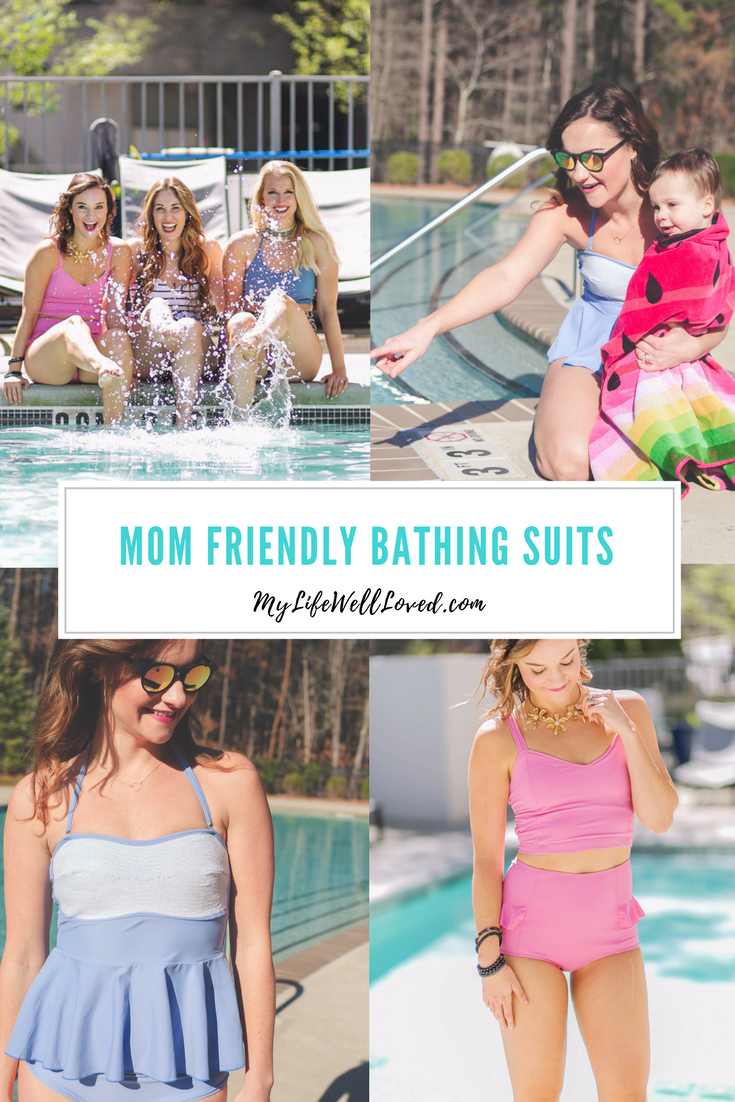Mom Friendly Bathing Suits from Heather Brown of MyLifeWellLoved.com // Modest Bathing Suits // 2017 Bathing Suits // Best Swimwear for Moms // Summer Swim Trends // Bikinis for Moms // Mom Friendly Bathing Suits // 4th of July Swimwear