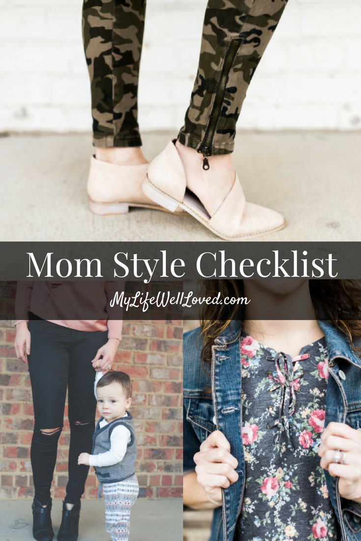 Mom Style Checklist from Heather Brown of MyLifeWellLoved.com // Mom Fashion & Littles Style // Camo and Girly Blush Pink // how to style camo