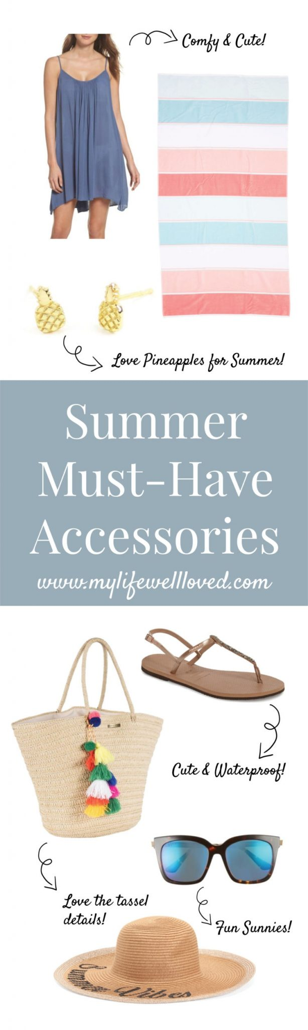 Summer Beach Accessories to make you look stylish whether you're at the pool, lake, or beach! Great vacation fashion finds for the trendy mom on the go from alabama blogger Heather of MyLifeWellLoved.com