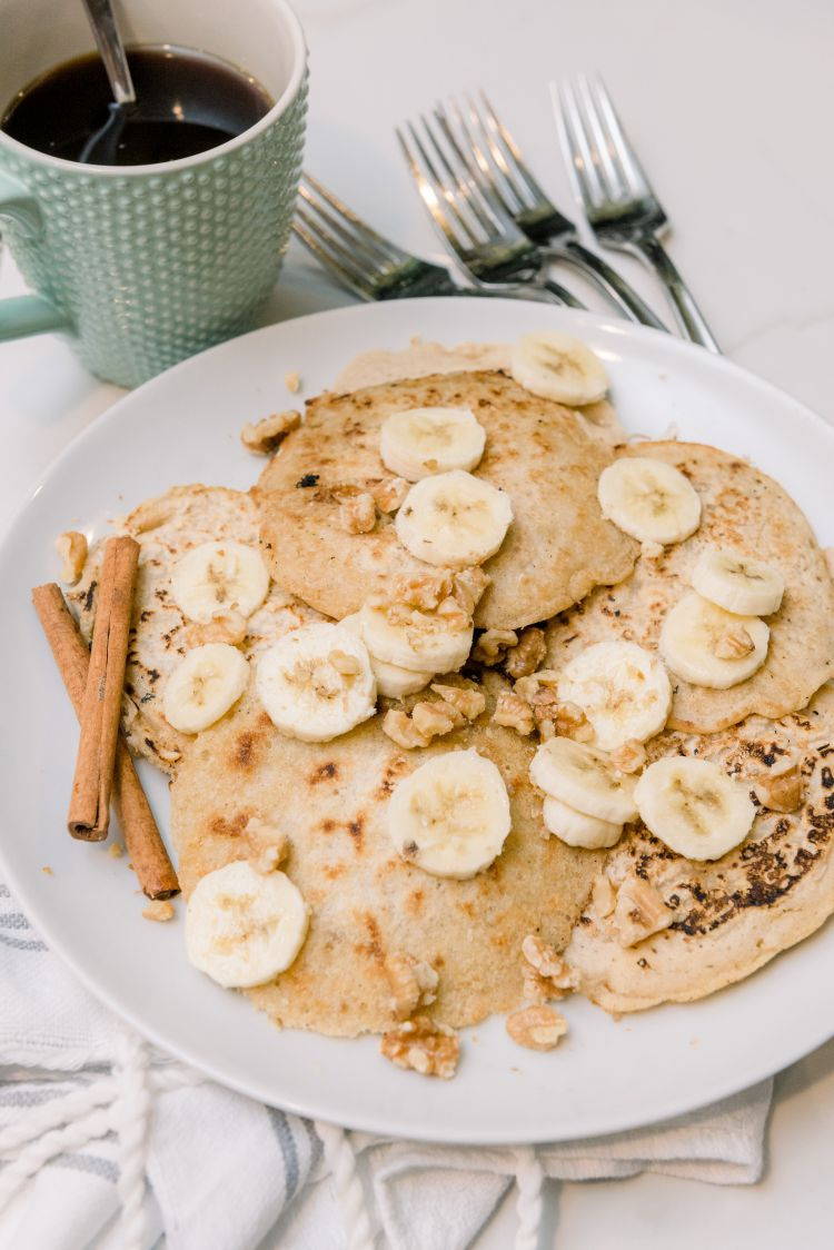Walnut & Oat Pancake Recipe that is Lightened Up and Easy to Make by Alabama Blogger My Life Well Loved // #healthypancakes #healthybreakfastrecipe #easybreakfast #breakfastrecipes