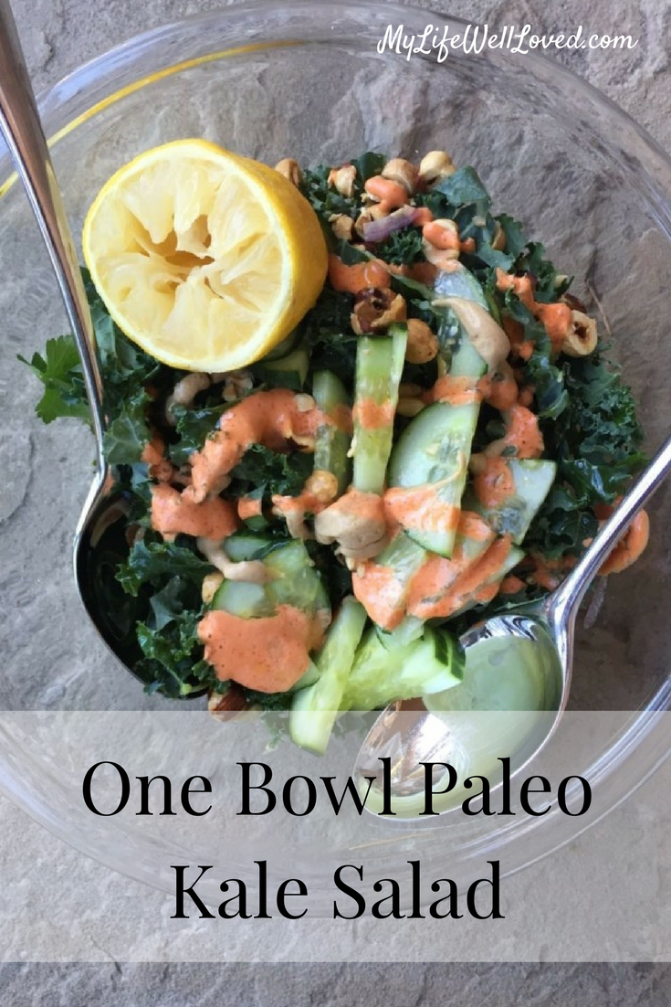 Whole 30 One Bowl Kale Salad from Heather Brown of MyLifeWellLoved.com // Salad Recipe // Kale Salad Lunch Recipe