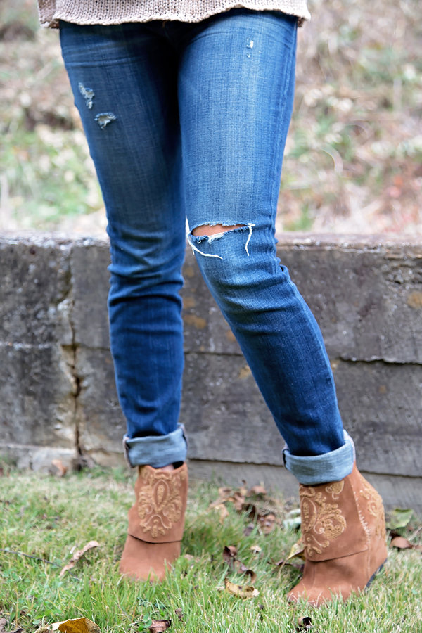 denim and booties