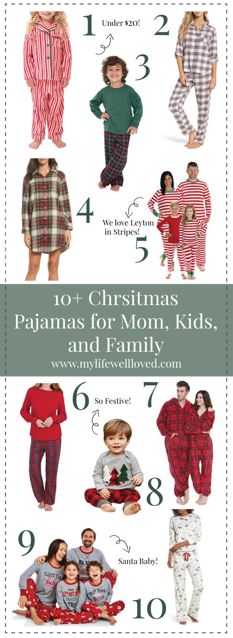 10+ Chrismtas Pajama Ideas for Mom, Dad, and kids by Alabama Blogger Heather Brown // sleepware for holidays //