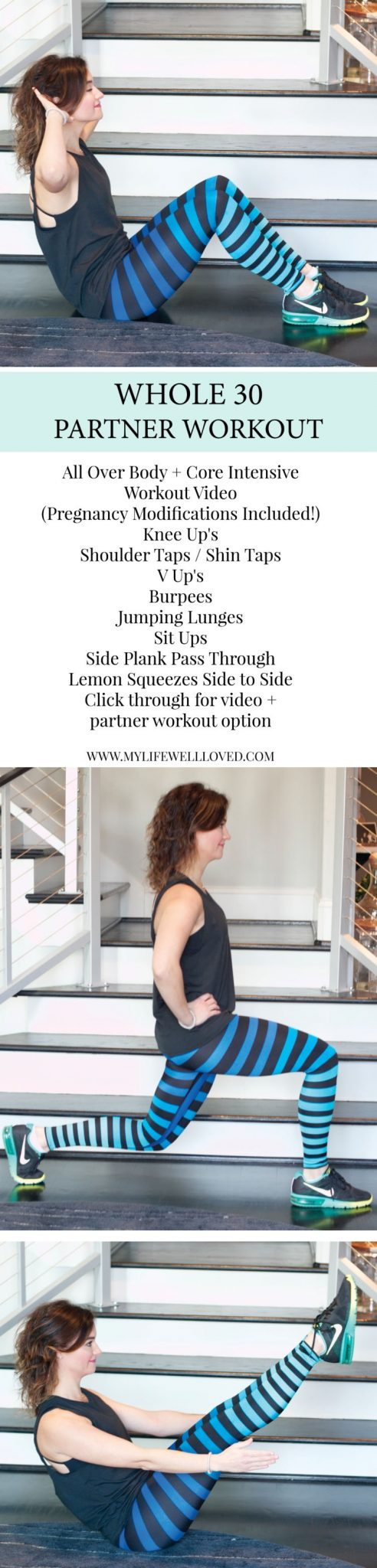 Partner Workout from ALabama blogger Heather of MyLifeWellLoved.com with pregnancy modifications for workout // athleisure