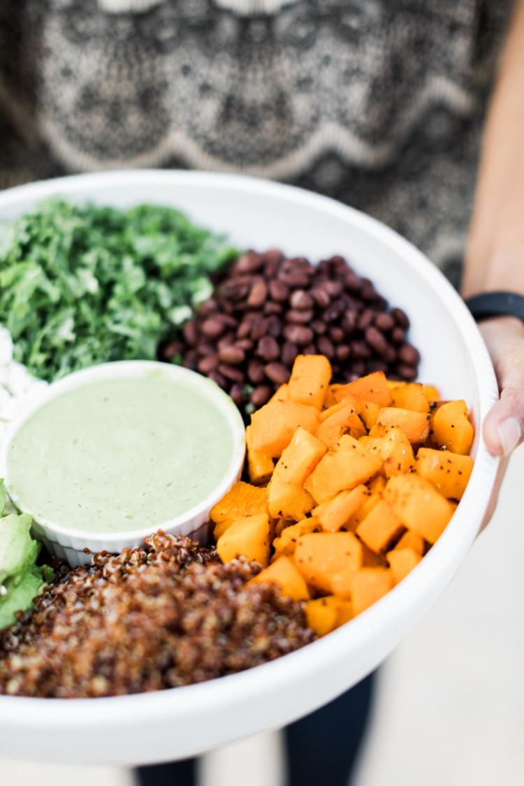 Superfood Salad with Cilantro Avocado Dressing on Heather's blog, MyLifeWellLoved.com Easy Clean Eating Salad to serve a crowd!