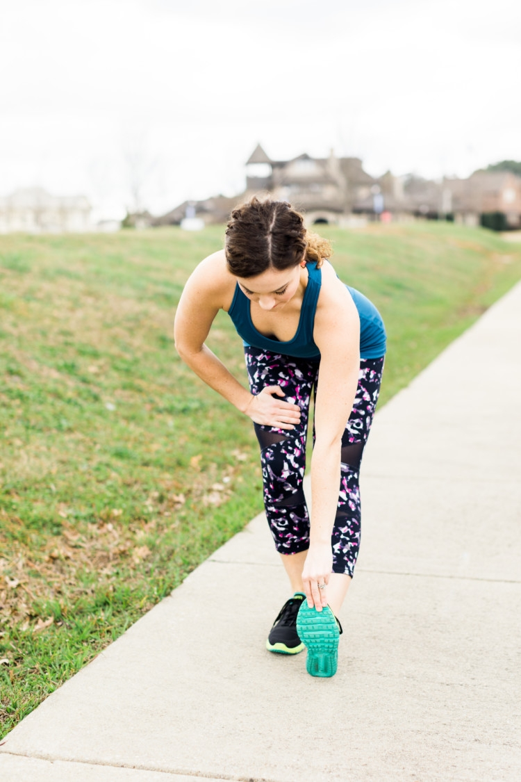 Paleo Challenge: Calf Stretch + Athleisure Look + Stretching: Yummie Athletic Wear from Heather of MyLifeWellLoved.com