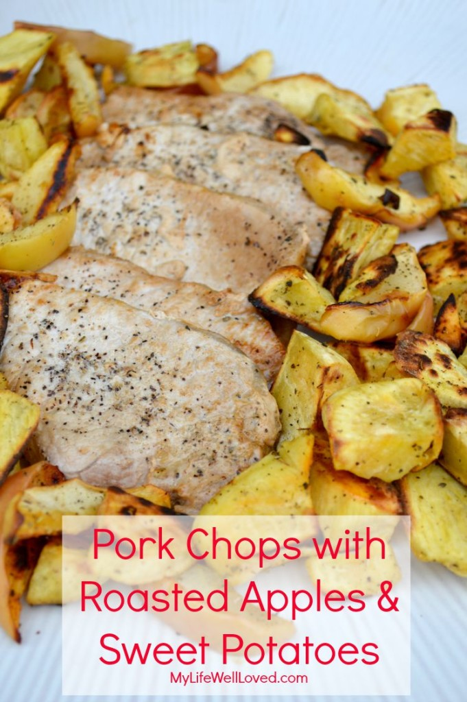 Pork Chops with Roasted Apples & Sweet Potatoes