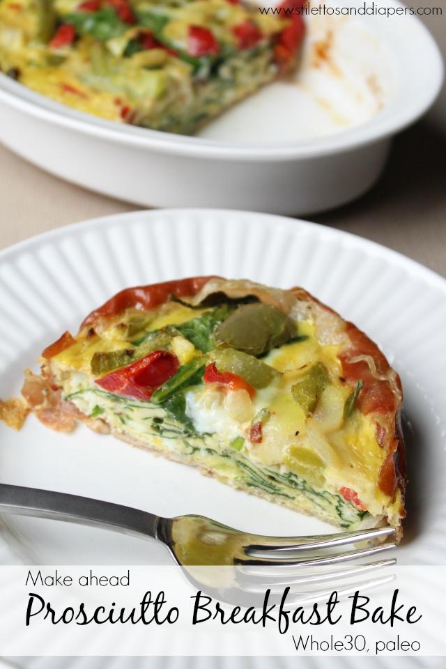 Paleo Prosciutto Breakfast Bake || Whole30 recipe