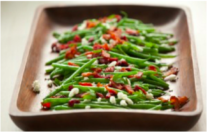 10 Minute Fancy Green Bean Recipe with Goat Cheese and Bacon