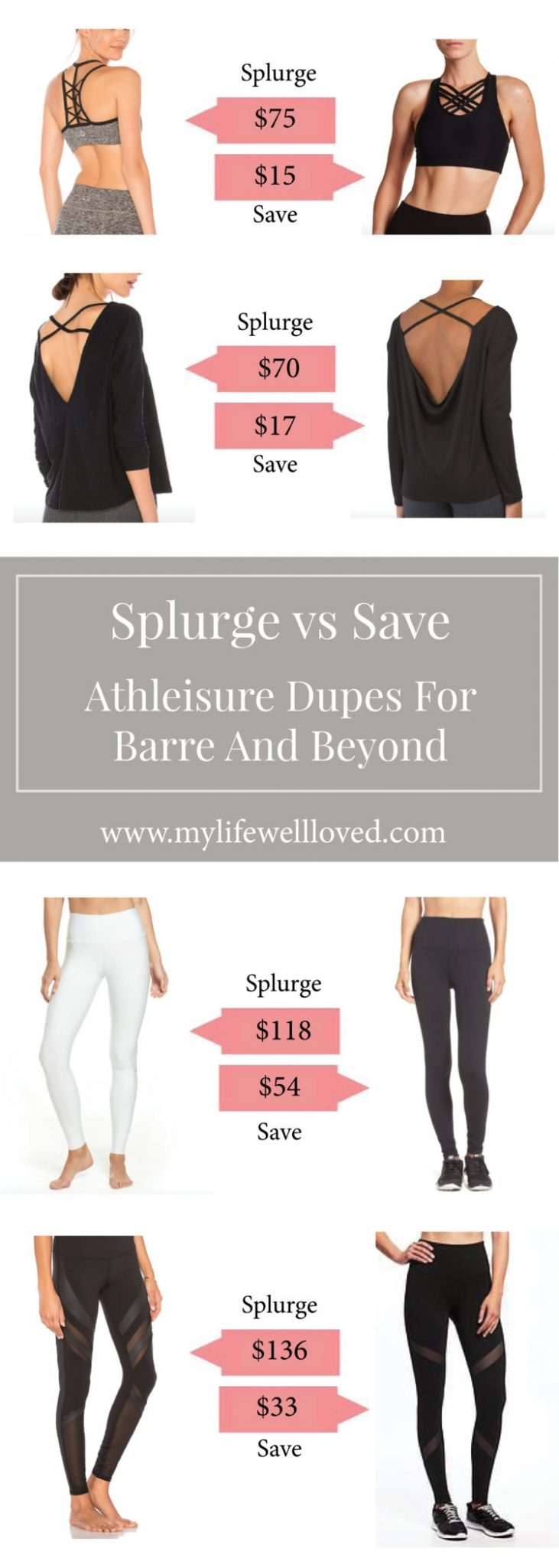 athelisure dupes for barre and beyond by alabama blogger heather brown // splurge // save // workout // clothes // Affordable Pure Barre Clothing That Won't Break The Bank by popular Alabama fitness blogger My Life Well Loved