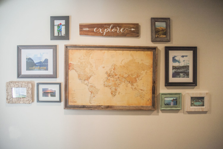 Cozy Home Decor by AL blogger My Life Well Loved Travel Wall and cozy home decor