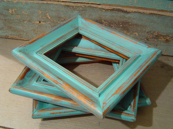 Turquoise-Distressed-Wood-Picture-Frame-Collection