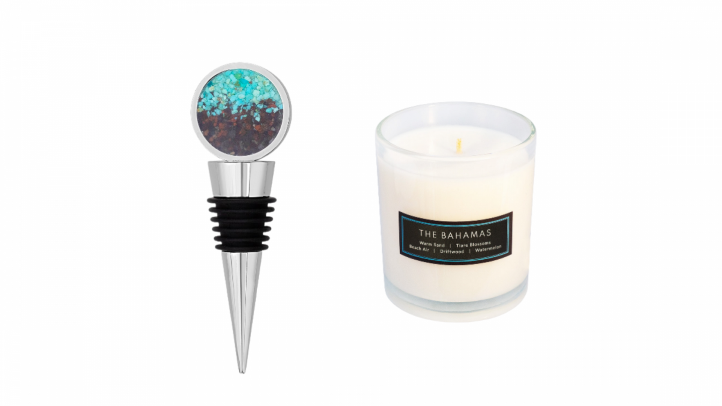 Dune and Jewelry Co wine stopper and experiential candle