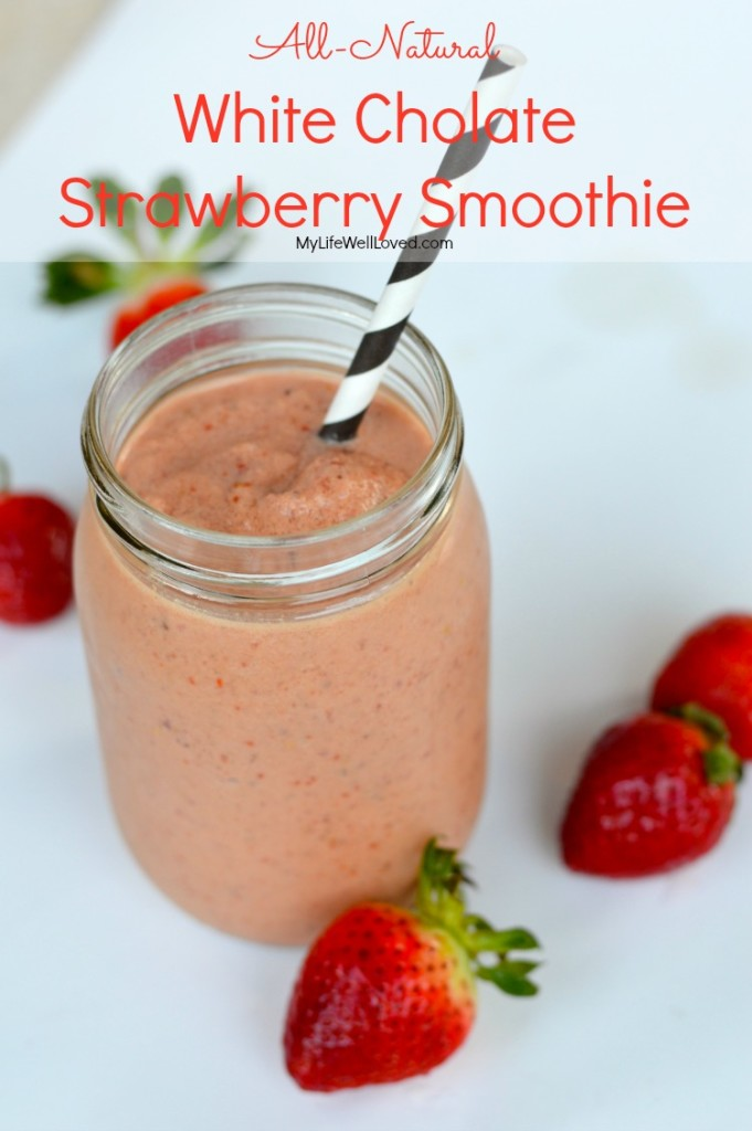 All Natural White Chocolate Peanut Butter Strawberry Smoothie with Goji Berries and Flaxseed
