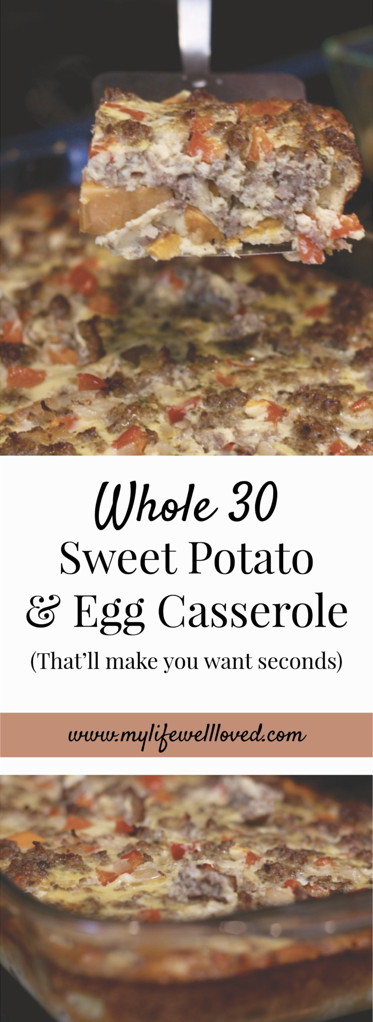 Whole30 Breakfast Casserole from Heather of MyLifeWellLoved.com // whole30 breakfast ideas - this is great to cook on Sunday and eat all week long