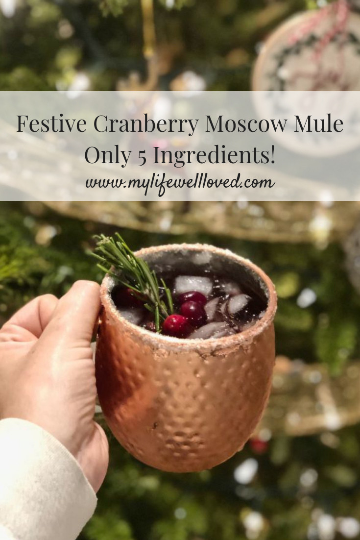 Cranberry Moscow Mule Drink recipe from alabama blogger Heather Brown of MyLifeWellLoved.com // Drink Recipe Cranberry Mule