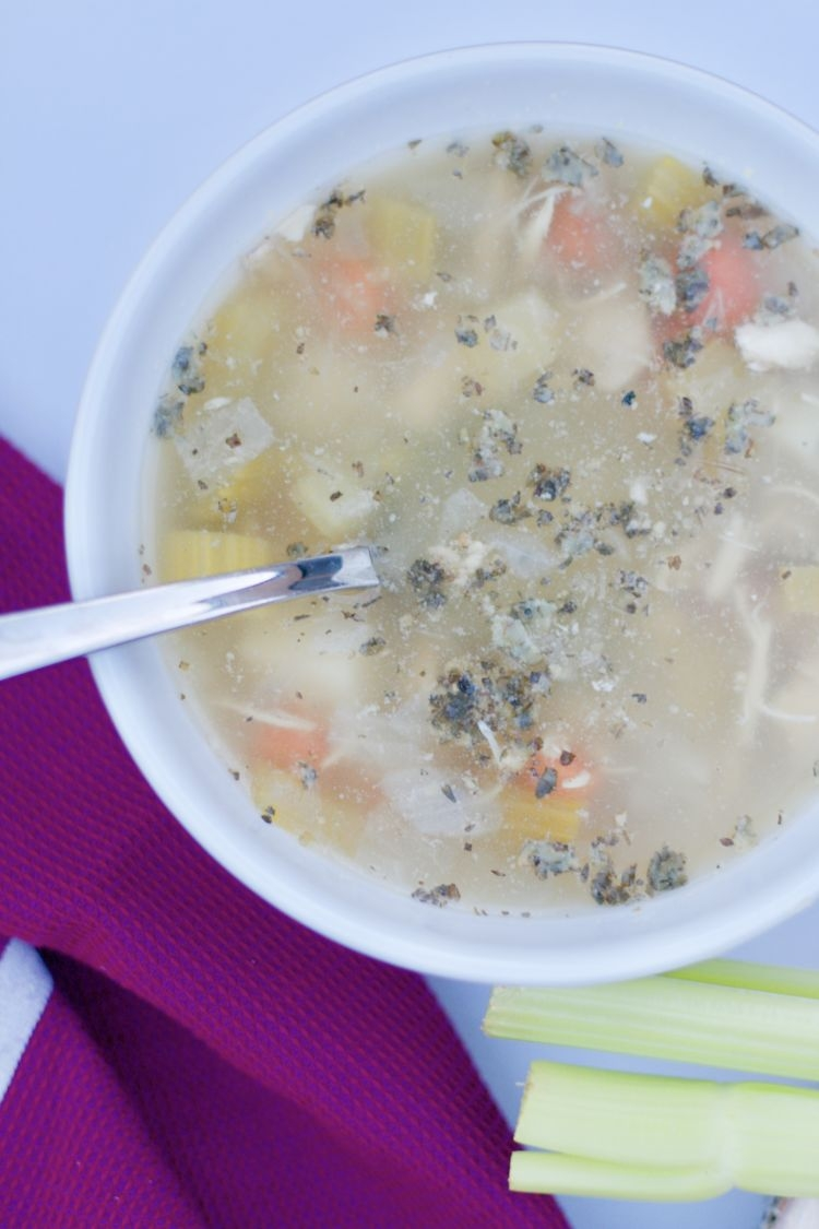 Pin this whole30 chicken soup from Alabama healthy lifestyle blogger Heather of MyLifeWellLoved.com for a delicious meal with plenty of leftovers! Paleo, gluten free and clean eating approved recipe.