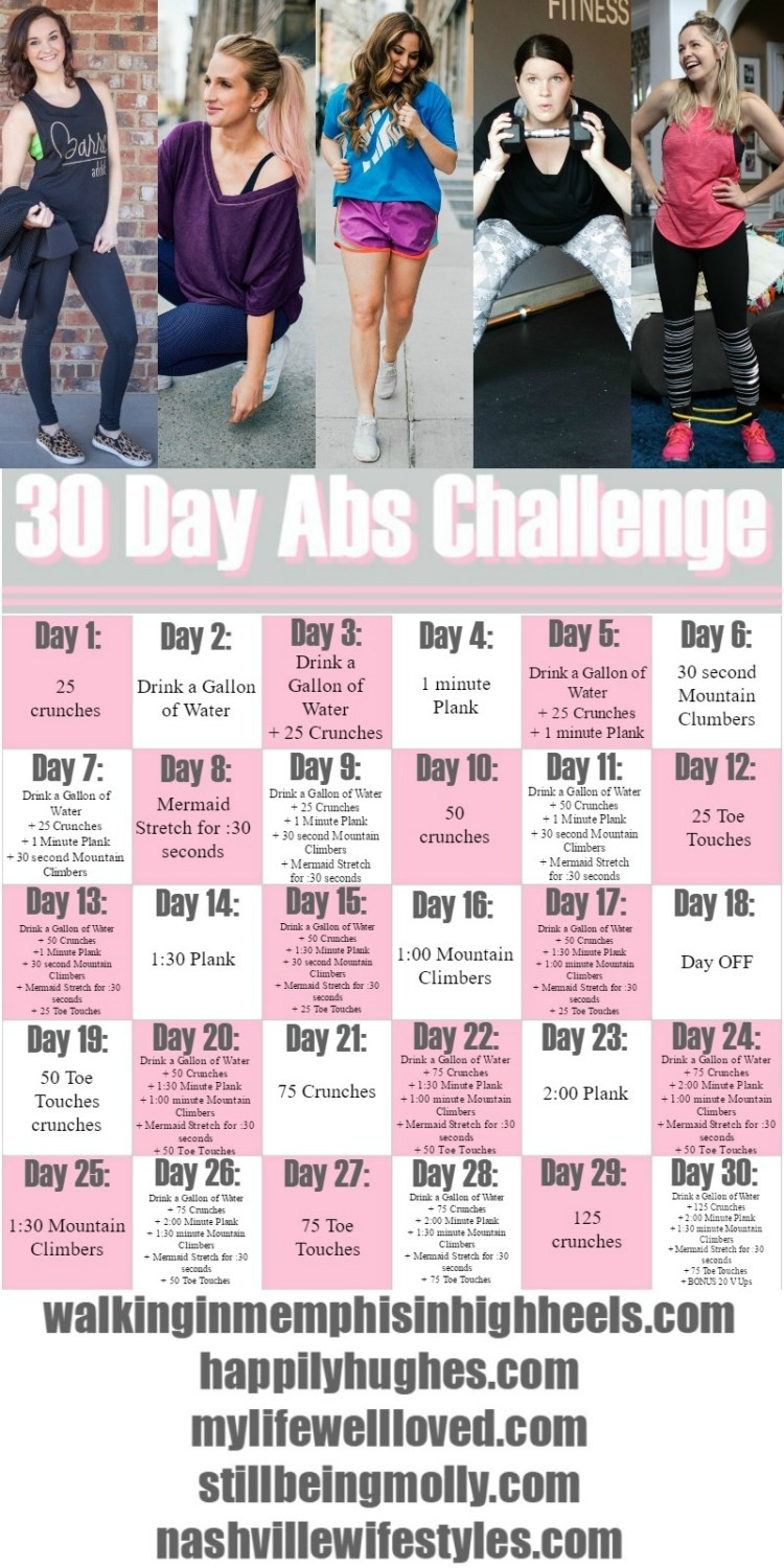 It is an image of Printable 30 Day Ab Challenge for abdominal