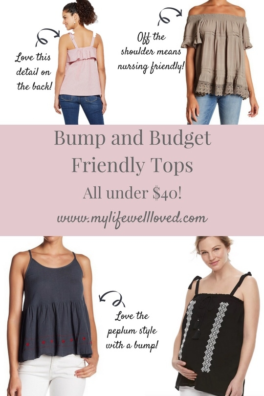 BUMP-friendly tops that are UNDER $40 from lifestyle blogger Heather of MyLifeWellLoved.com // Twenty-Nine Weeks Pregnant Bumpdate #MaternityShirt #Maternity #stylethebump #thirdtrimester