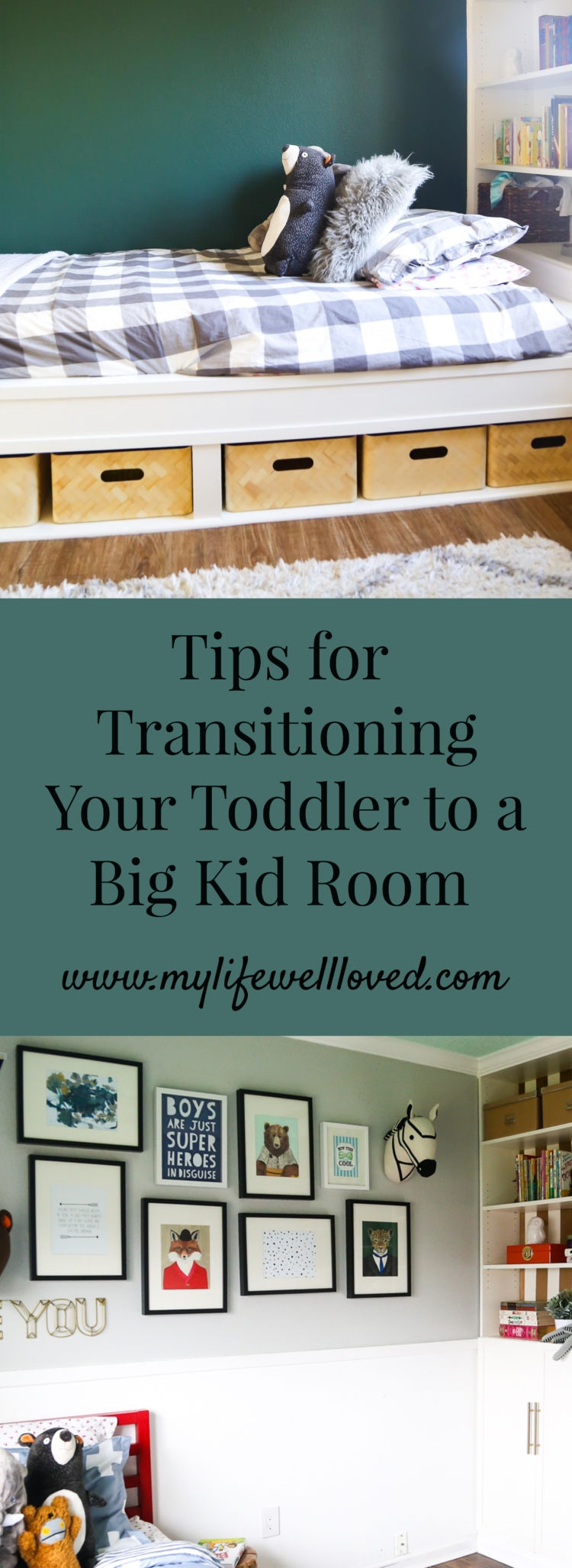 5 Essential Tips for Transitioning Your Toddler to a Big Boy Room by AL Life + Style Blogger, Heather, at MyLifeWellLoved.com // #bigkidroom #toddlerbed #homedecor