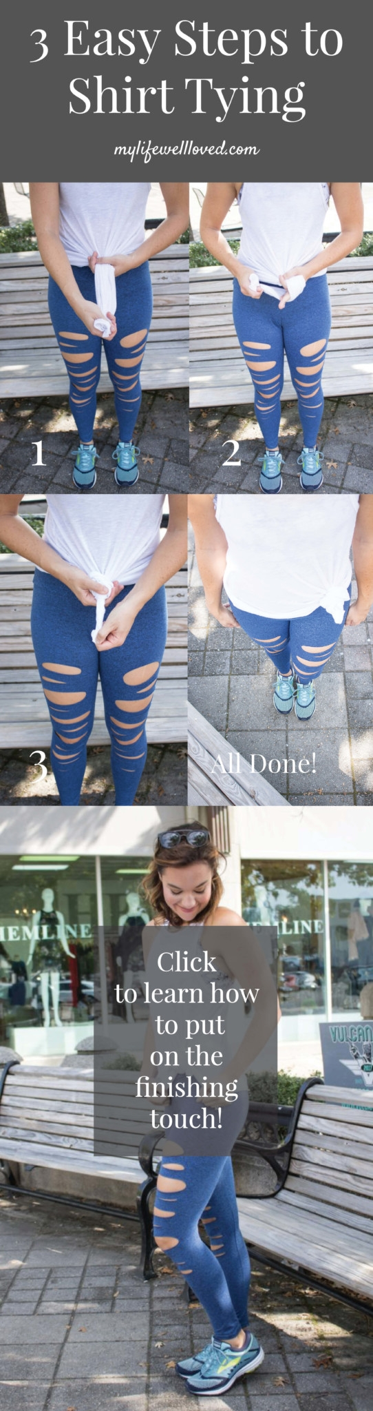 How to Tie Up a Shirt from Alabama Blogger Heather of MyLifeWellLoved.com // how to knot a tee // how to side tie your shirt // how to knot a shirt // athleisure // pure barre workout clothes