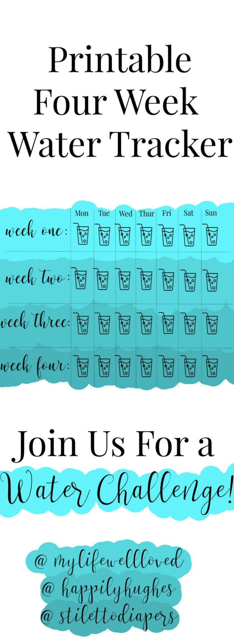 30 Day Water Challenge and printable water tracker from Alabama healthy lifestyle blogger Heather of MyLifeWellLoved.com // #waterchallenge #30daychallenge
